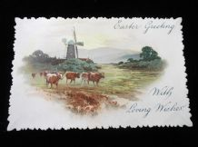 ANTIQUE POSTCARD EASTER GREETINGS LOVING WISHES CUT EDGE TINTED COWS WINDMILL